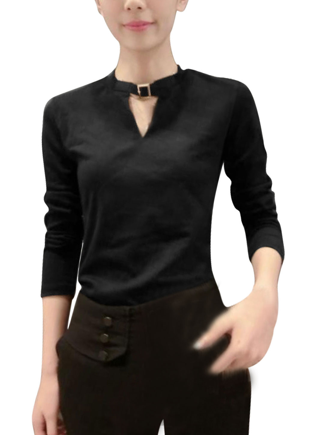 Round Neck Long Sleeves Pullover Trendy Top for Women Black S
