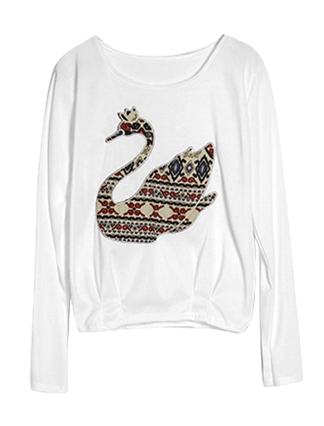 Round Neck Goose Applique Pullover Casual Top for Women White XS