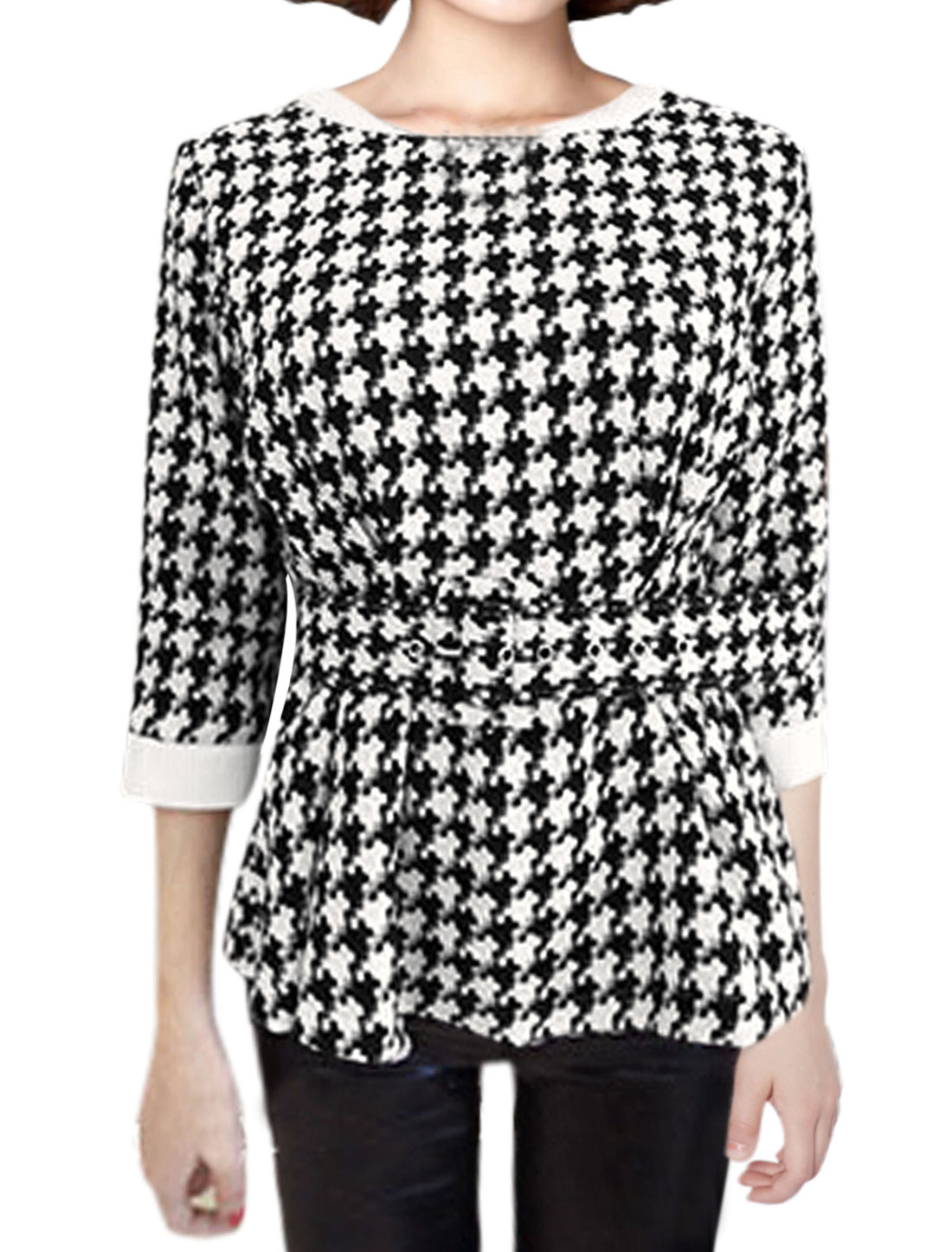 Women Houndstooth Pattern Slipover Peplum Top w Belt Black White XS