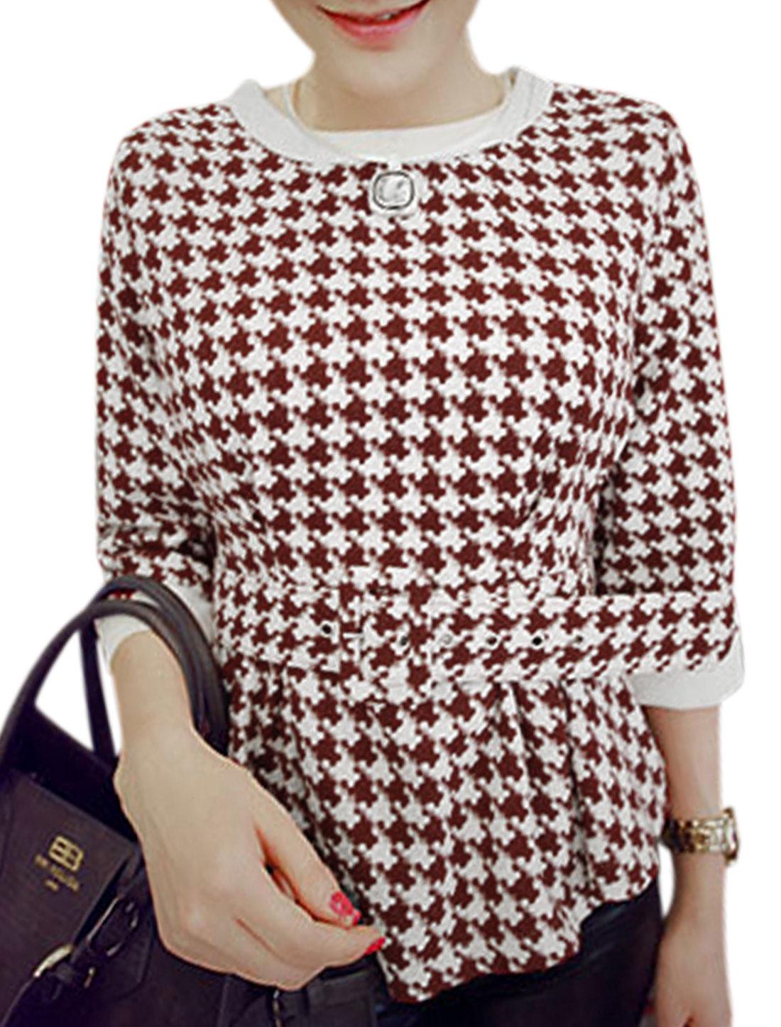 Ladies 3/4 Sleeve Houndstooth Pattern Burgundy White Peplum Top XS