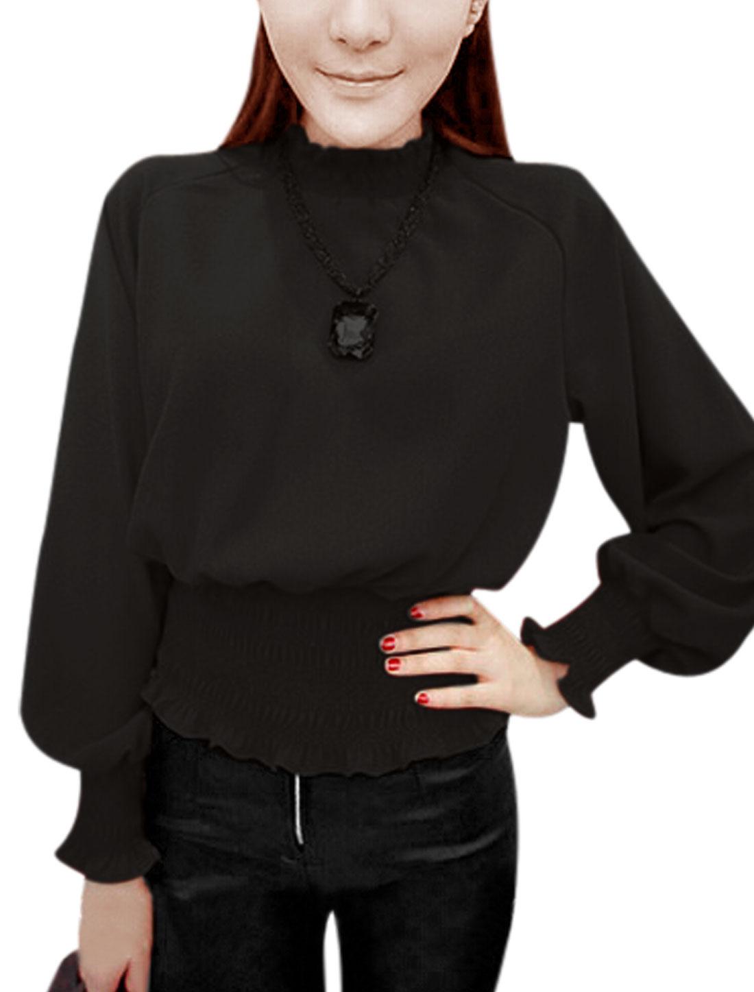 Women Stand Collar Raglan Sleeve Elastic Hem Blouse Black XS