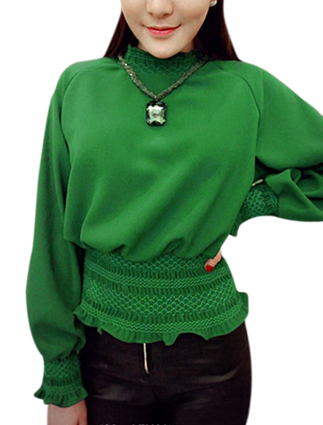 Elastic Cuffs Long Raglan Sleeves Green Blouse for Woman XS