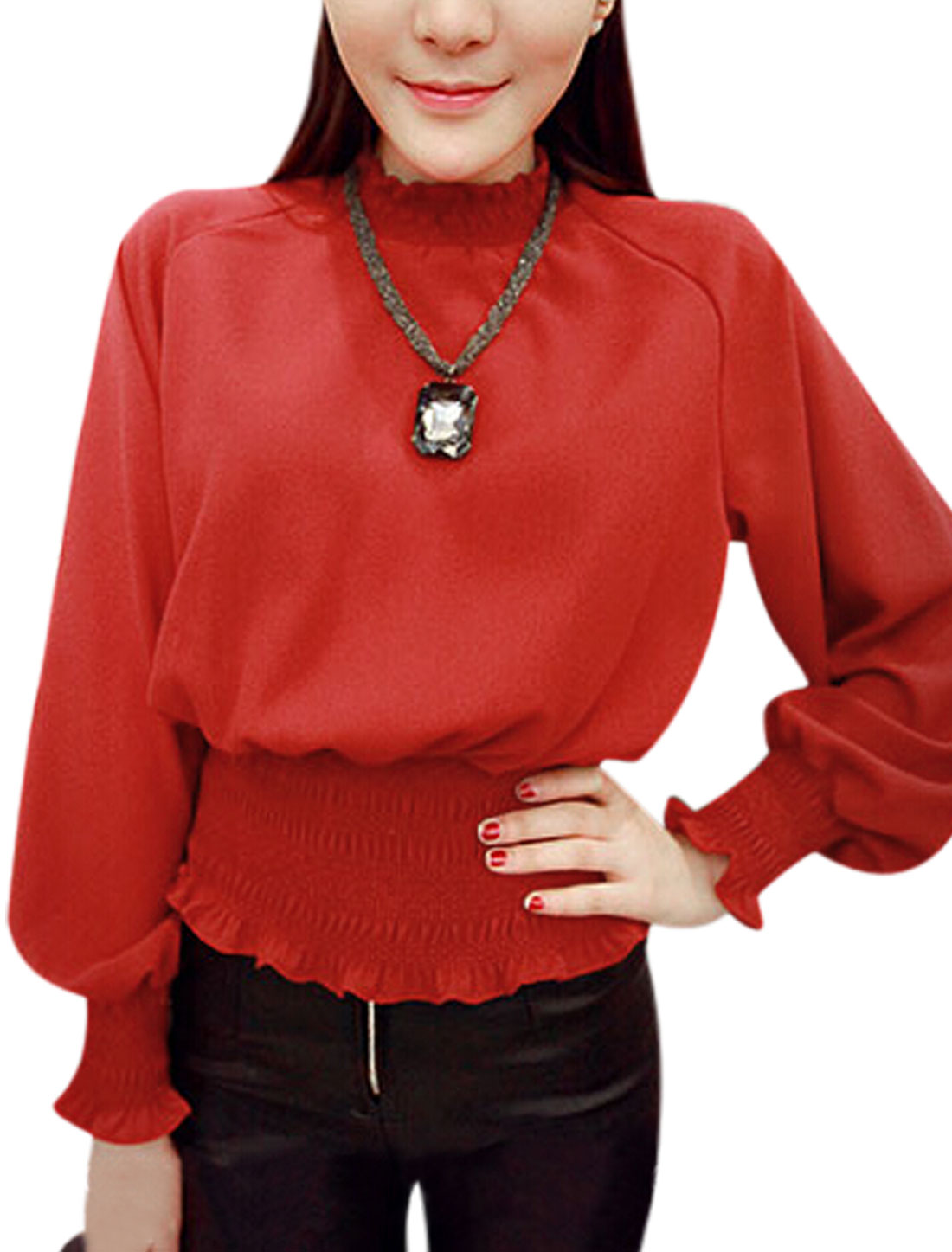 Stretchy Hem Design Stand Collar Red Blouse for Ladies S