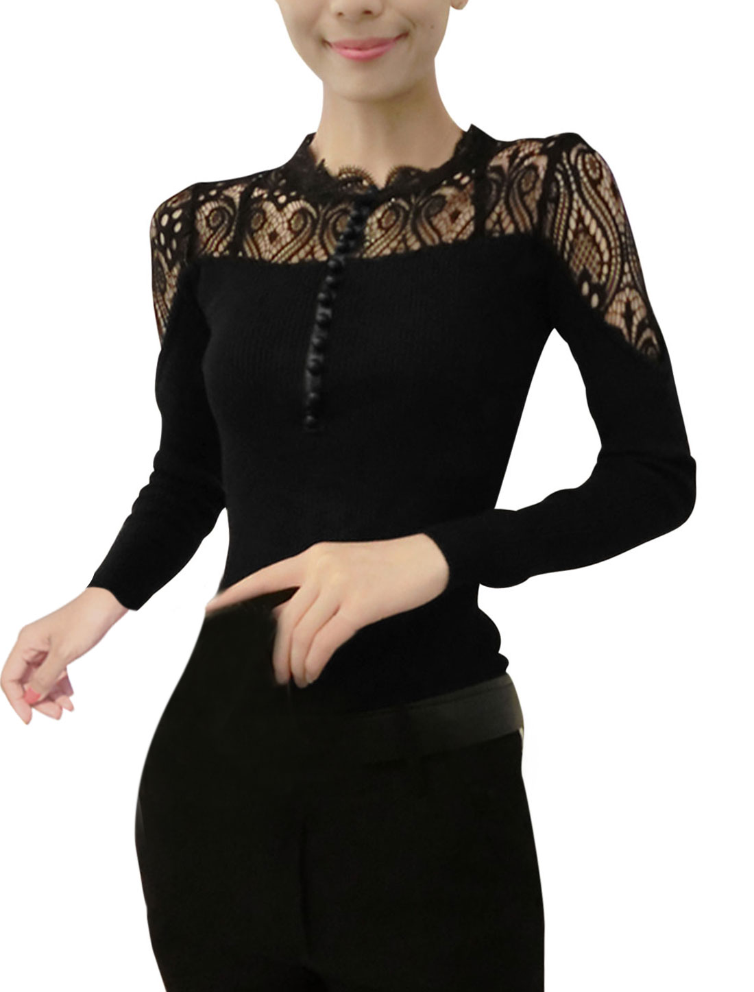 Women Lace Scalloped Collar Spliced Long Sleeve Shirt Black XS