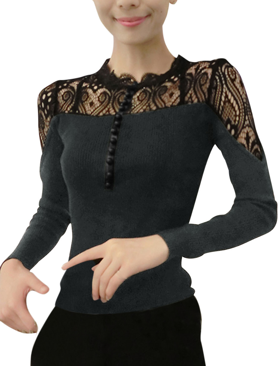 Ladies Lace Splicing Button Decor Front Dark Gray Shirt XS