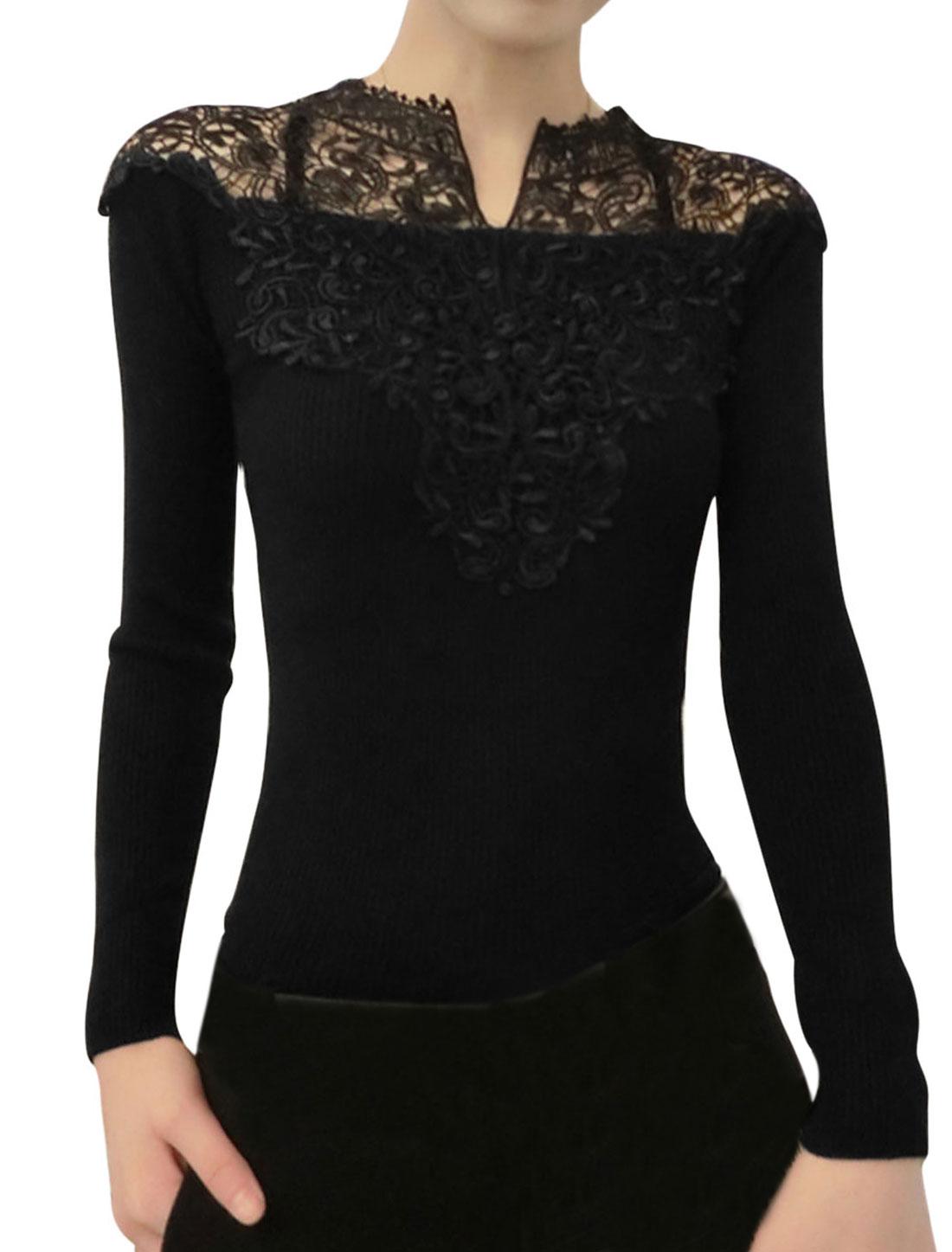Women Crochet Panel Design Split Neck Casual Shirt Black XS