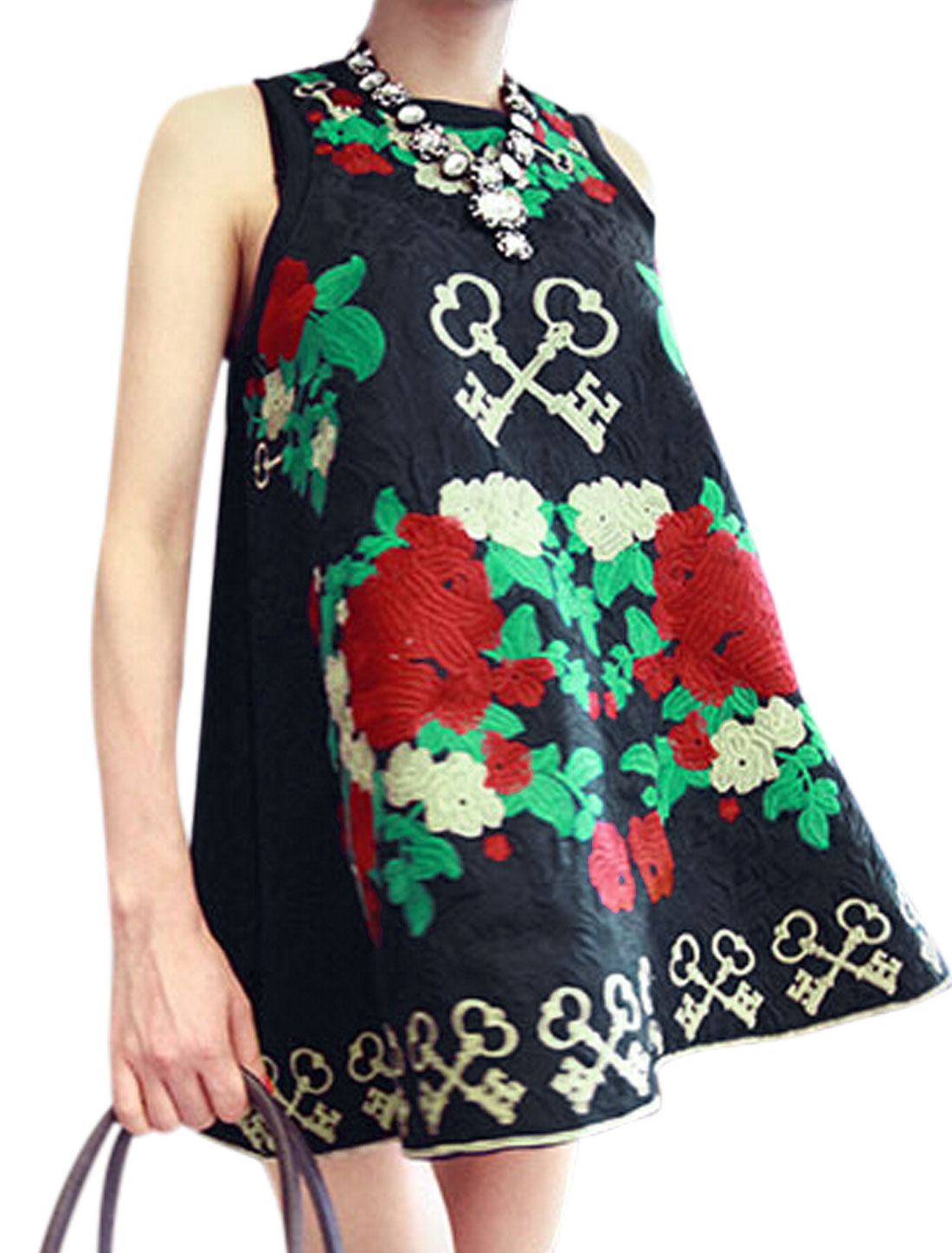 Ladies Navy Blue Pullover Floral Keys Prints Unlined Straight Tank Dress S