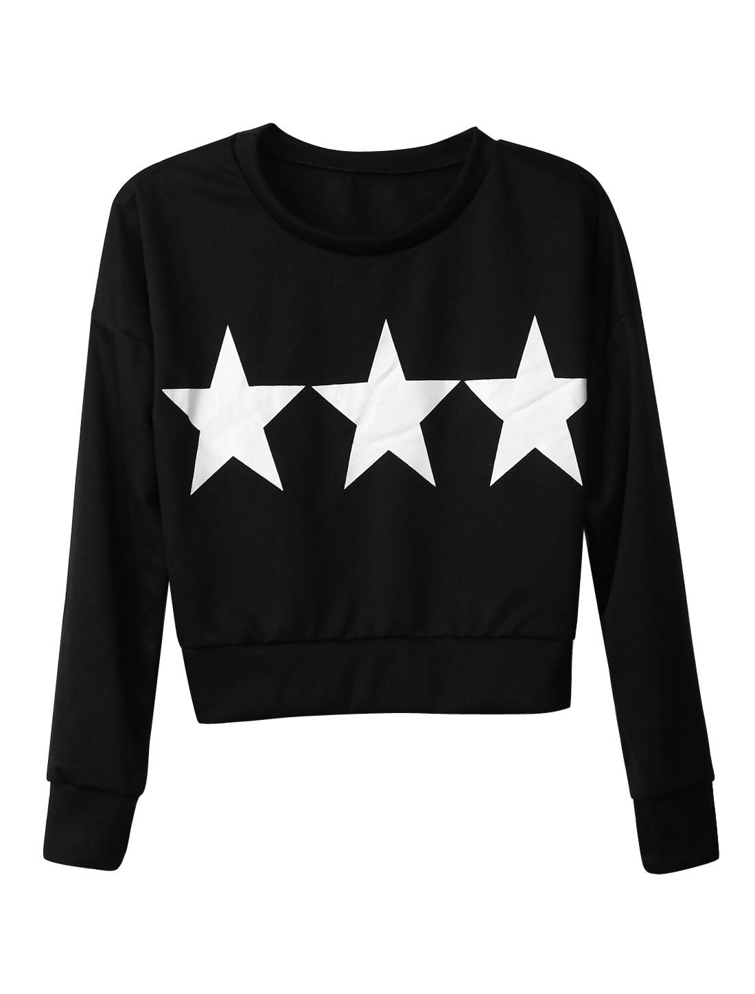 Women Stars Pattern Long Sleeves Pullover Korean Style Crop Top Black XS