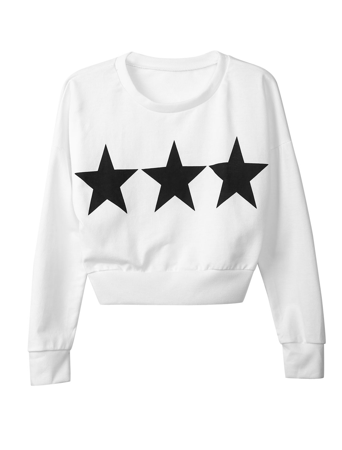 Round Neck Stars Pattern Slipover Crop Top for Women White XS