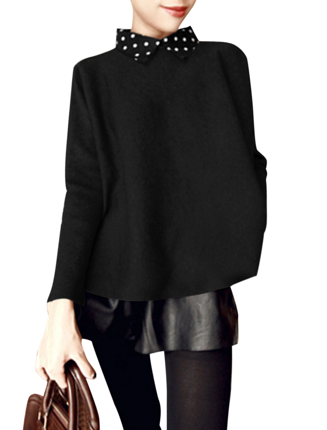 Women Dots Turn Down Collar Long Sleeve Casual Shirt Black XS