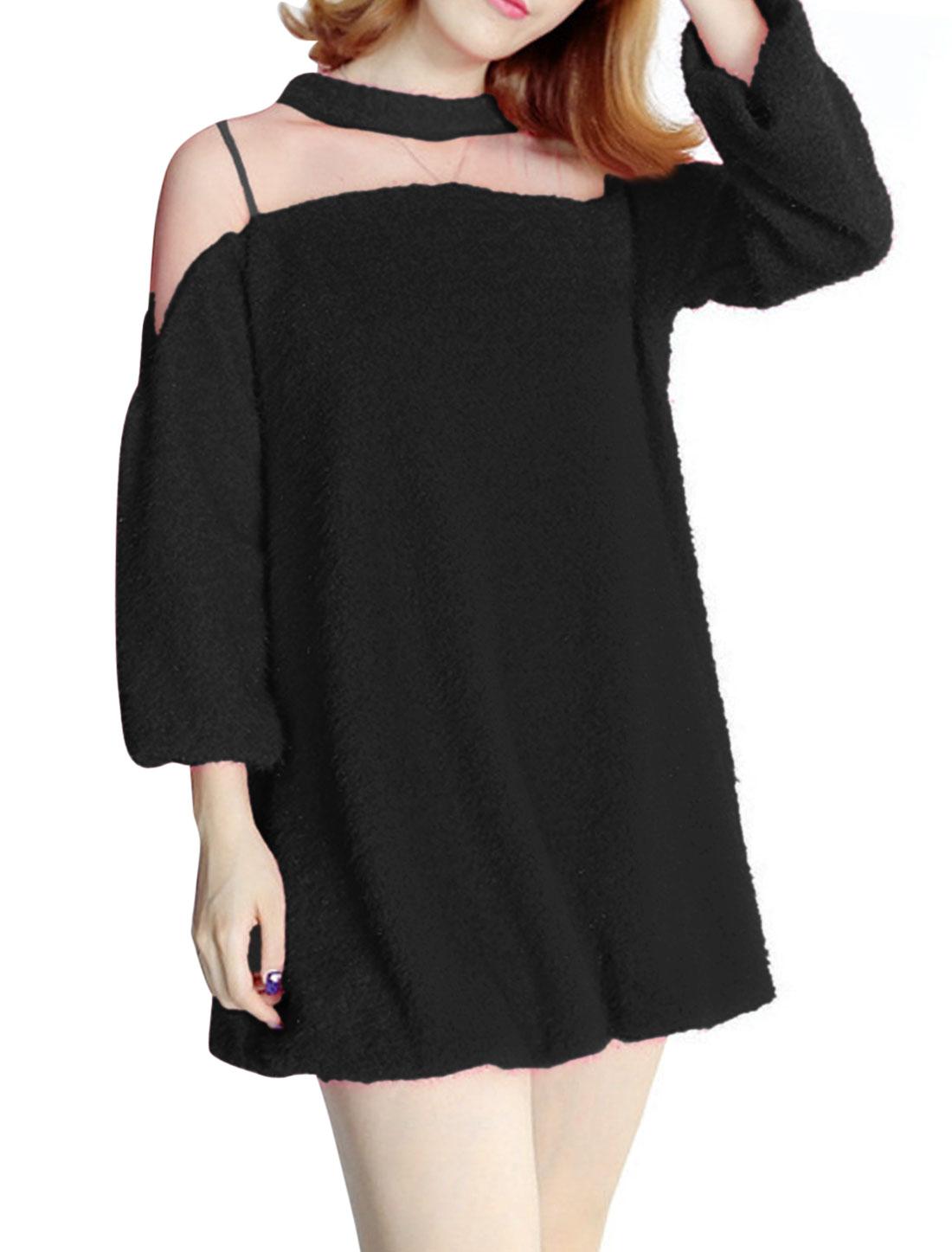 Women Semi-sheer Mesh Panel 3/4 Sleeves Tunic Top Black XS