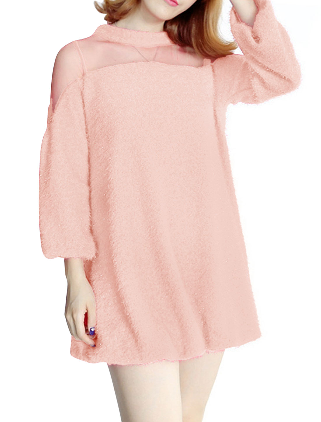 Mesh Panel Stretchy Hem Pullover Pink Tunic Top for Lady XS