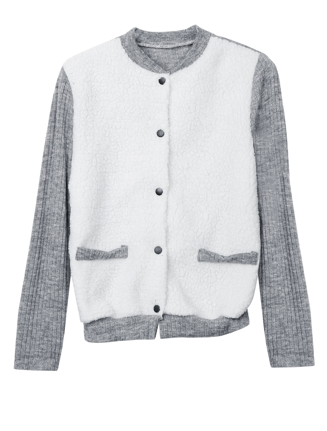 Women Stand Collar Long Sleeves Panel Casual Knitted Jacket Gray White S