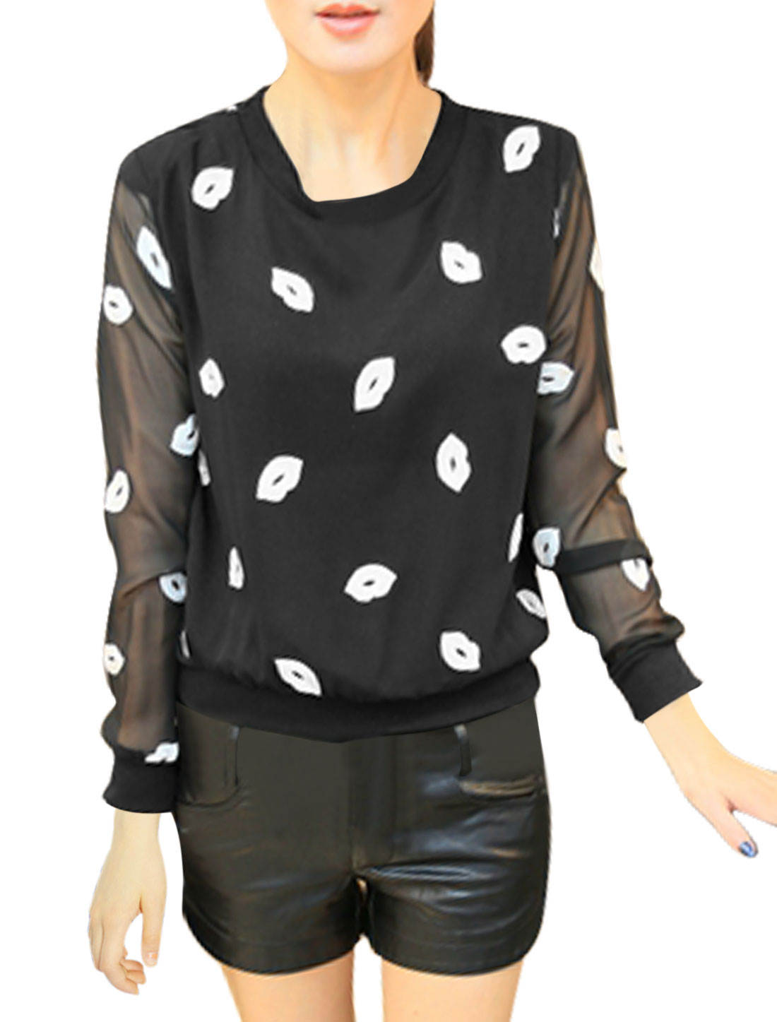 Women Round Neck Lips Embroidery Long Sleeves Leisure Chiffon Shirt Black S