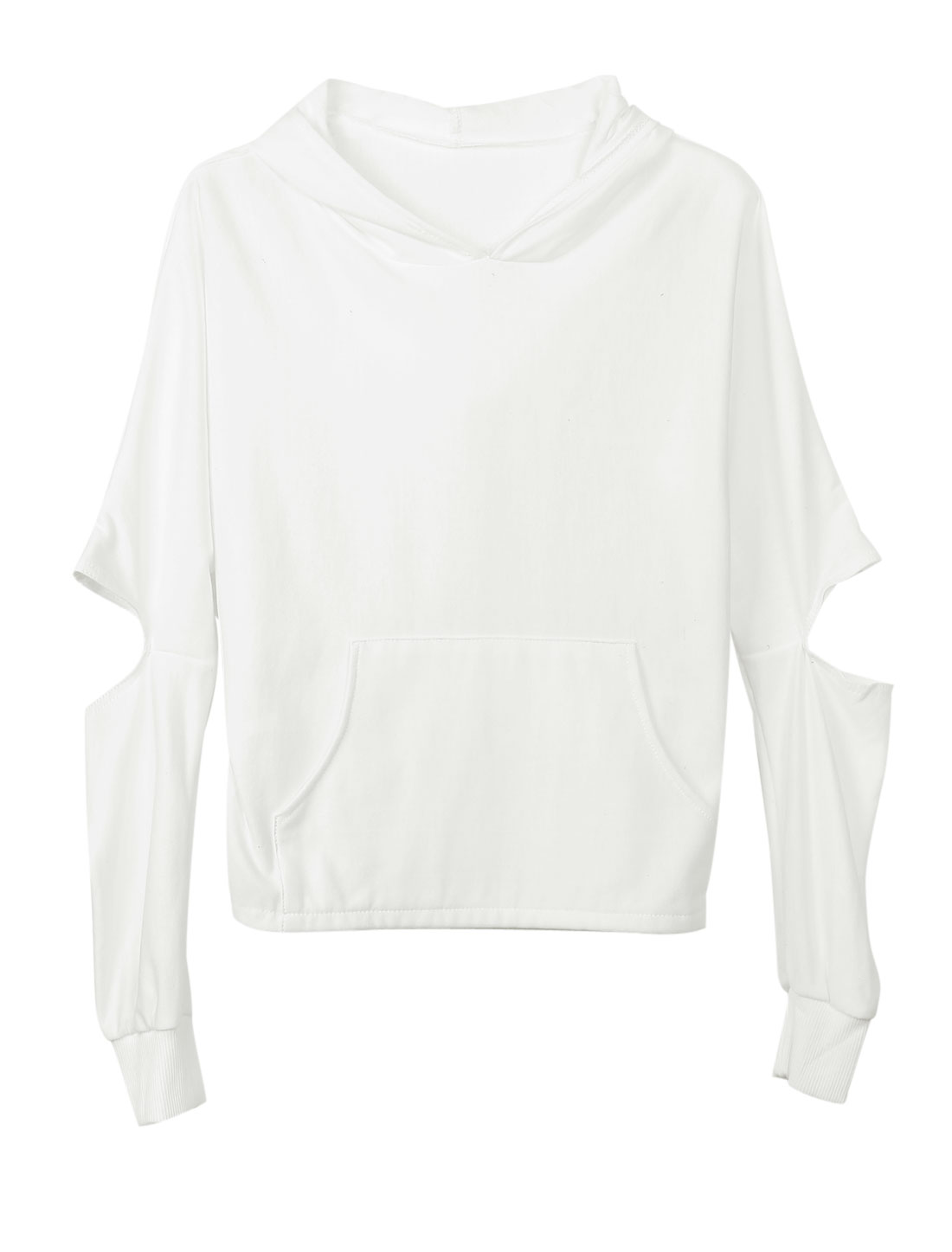 Ladies Batwing Sleeves Kangaroo Pocket White Hooded Top XS