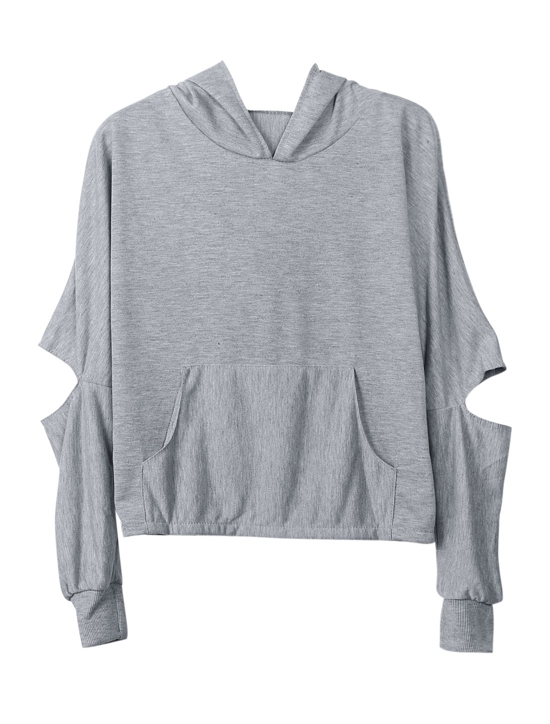 Ribbed Cuffs Split Long Sleeves Gray Hooded Top for Lady XS