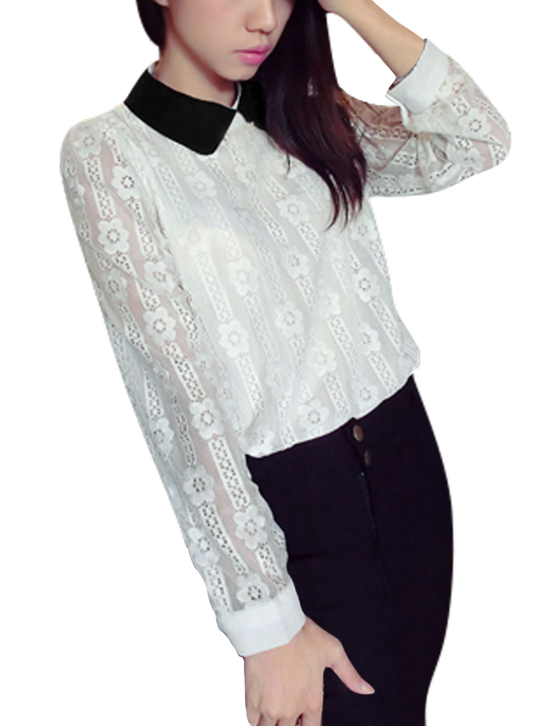Women Doll Collar Long Sleeves Crochet Casual Shirt White S