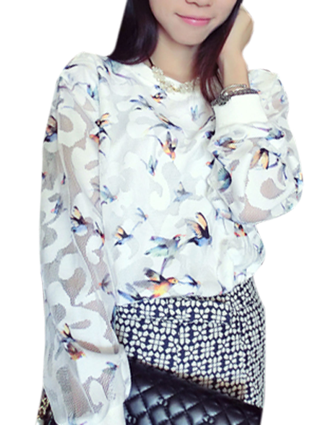 Women Birds Pattern Long Sleeves Casual Net Shirt White XS
