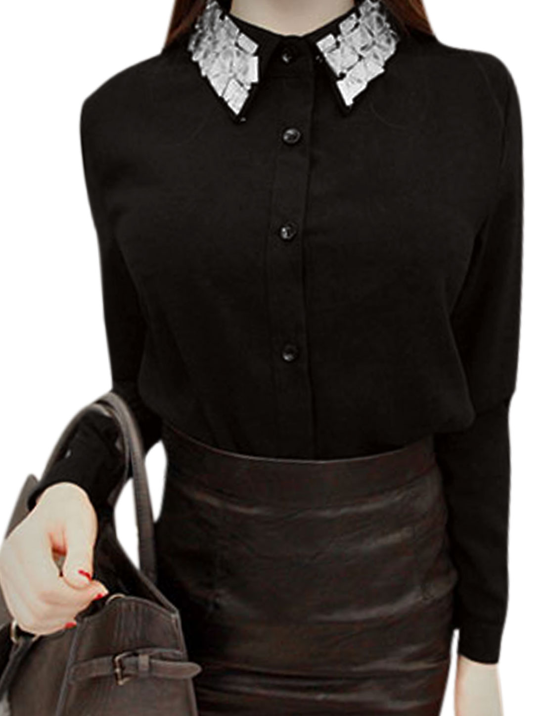 Women Rhinestone Decor Point Collar Button Up Shirt Black XS
