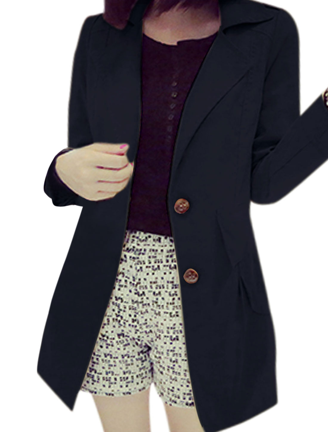 Women Notched Lapel Single Breasted Cuffed Casual Trench Jacket Navy Blue S