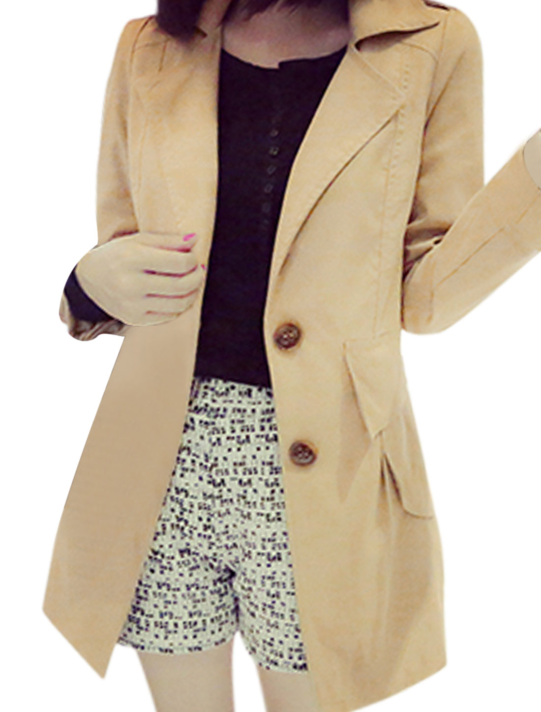 Women Long Sleeves Button Closed Flap Pockets Newly Trench Jacket Khaki S