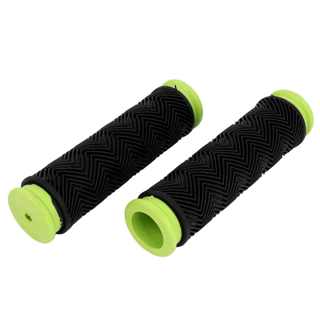 Pair Green Black Rubber Antislip Cycling Bicycle Bike Handle Bar Cover Handlebar Grip 125mm Length