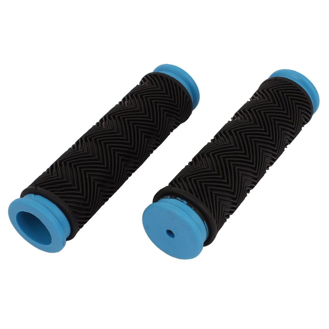 Pair Blue Black Rubber Antislip Cycling Bicycle Bike Handle Bar Cover Handlebar Grip 125mm Length