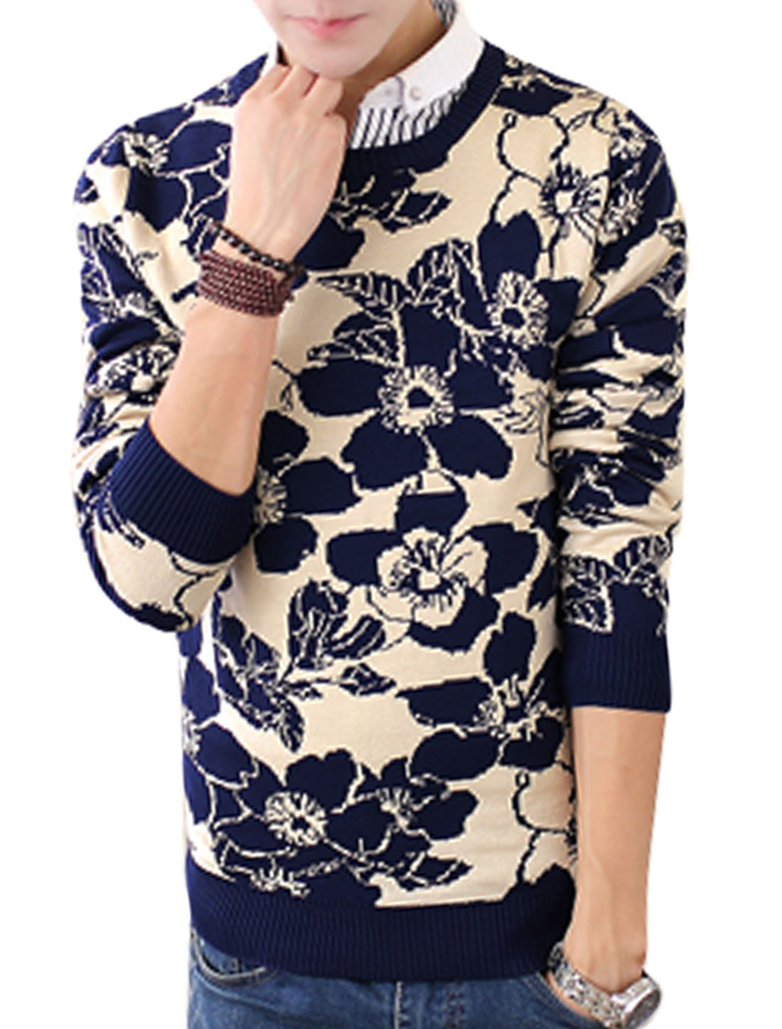 Men Navy Blue Beige Slipover Flower Prints Ribbed Trim Slim Cut Sweater S