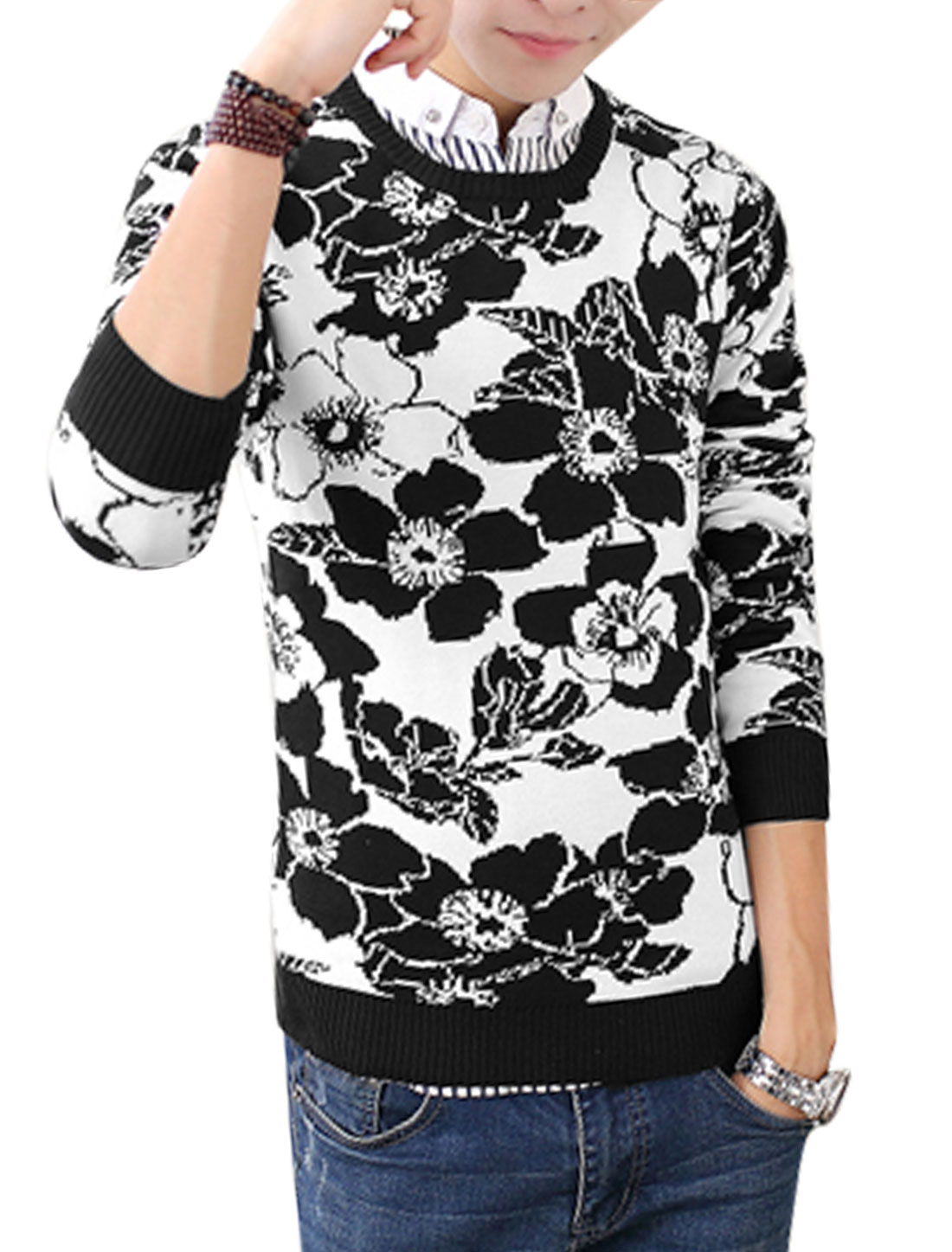 Men Black White Pullover Floral Prints Ribbed Trim Slim Fit Sweater S