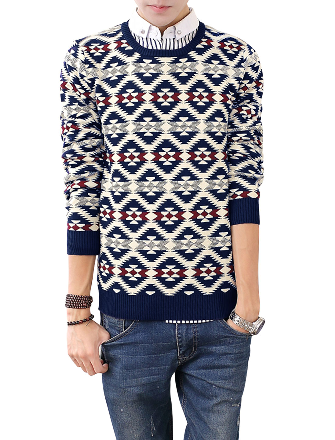 Men Round Neck Geometric Prints Long Sleeves Knitted Top Navy Blue Beige S
