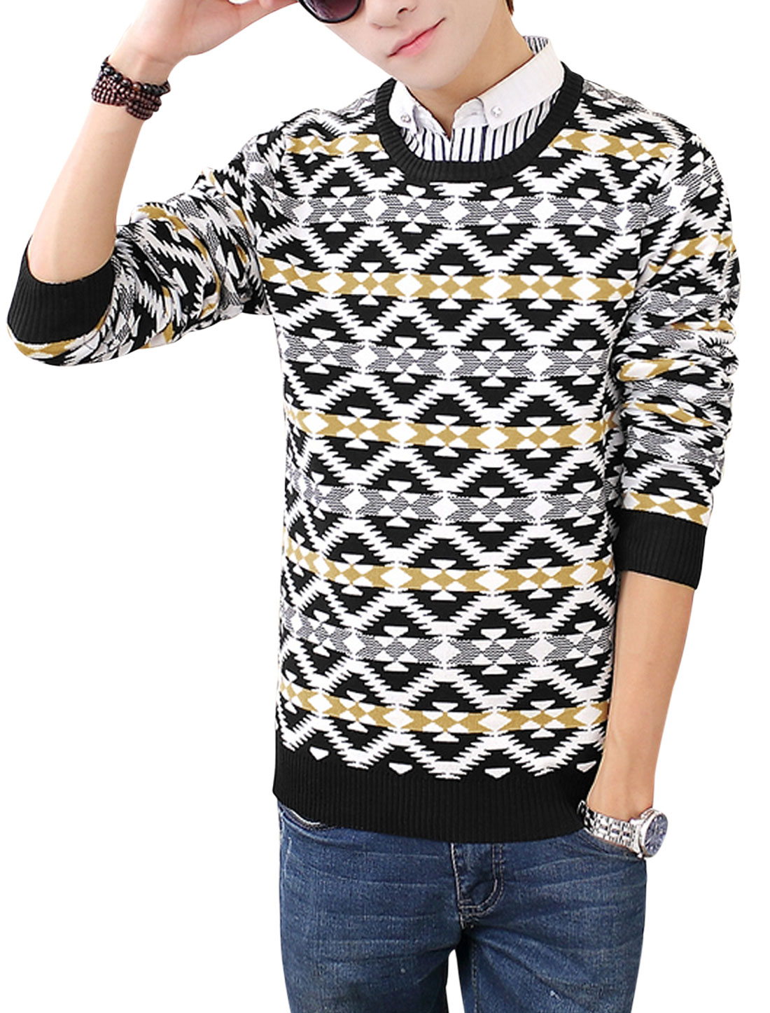 Men Round Neck Long Sleeves Geometric Prints Slipover Knit Top Black White S
