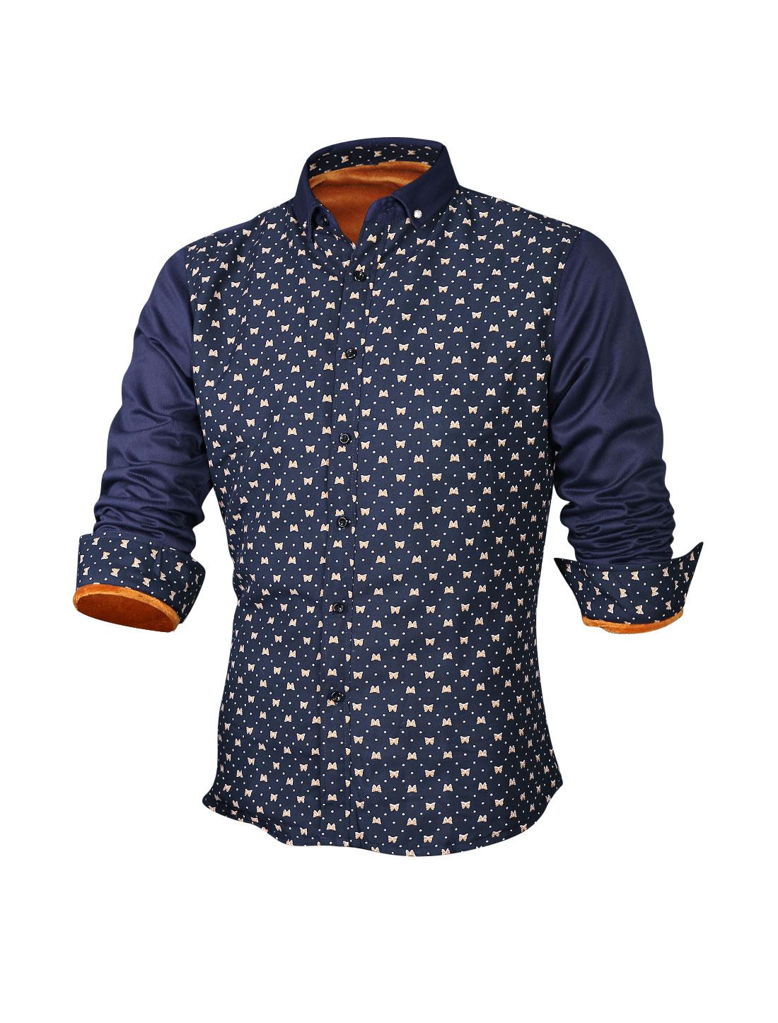 Men Bowknot Dots Pattern Soft Lining Heavy Casual Shirt Navy Blue M