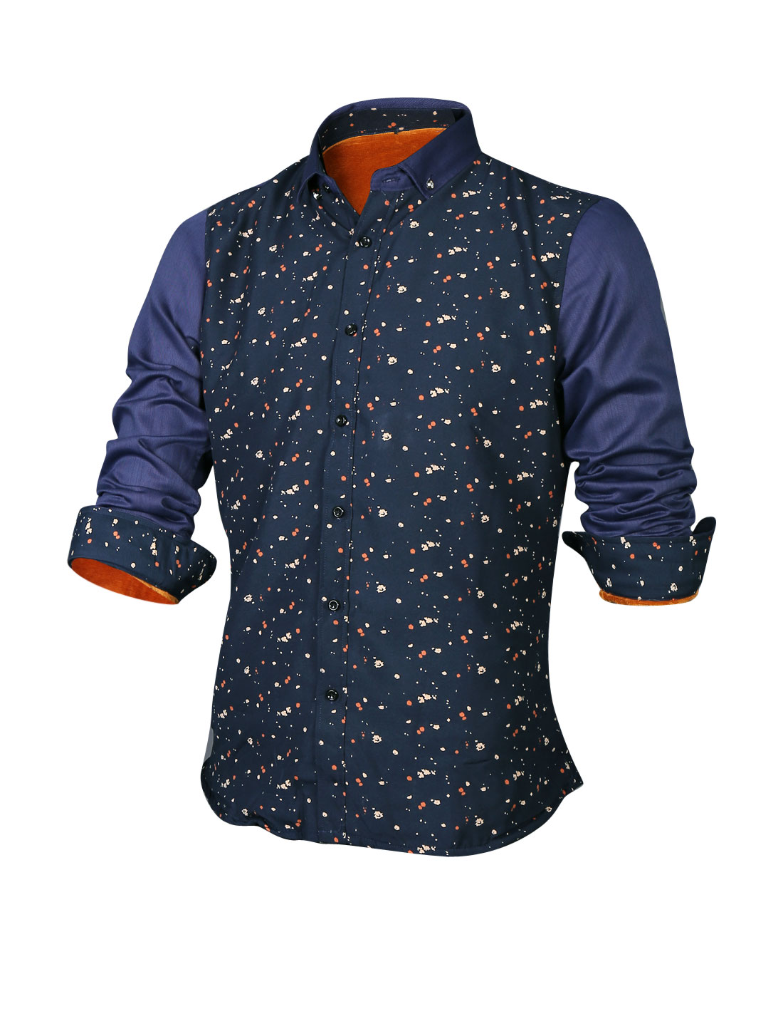 Men Spray-Paint Soft Lined Button Up Heavy Casual Shirt Navy Blue M