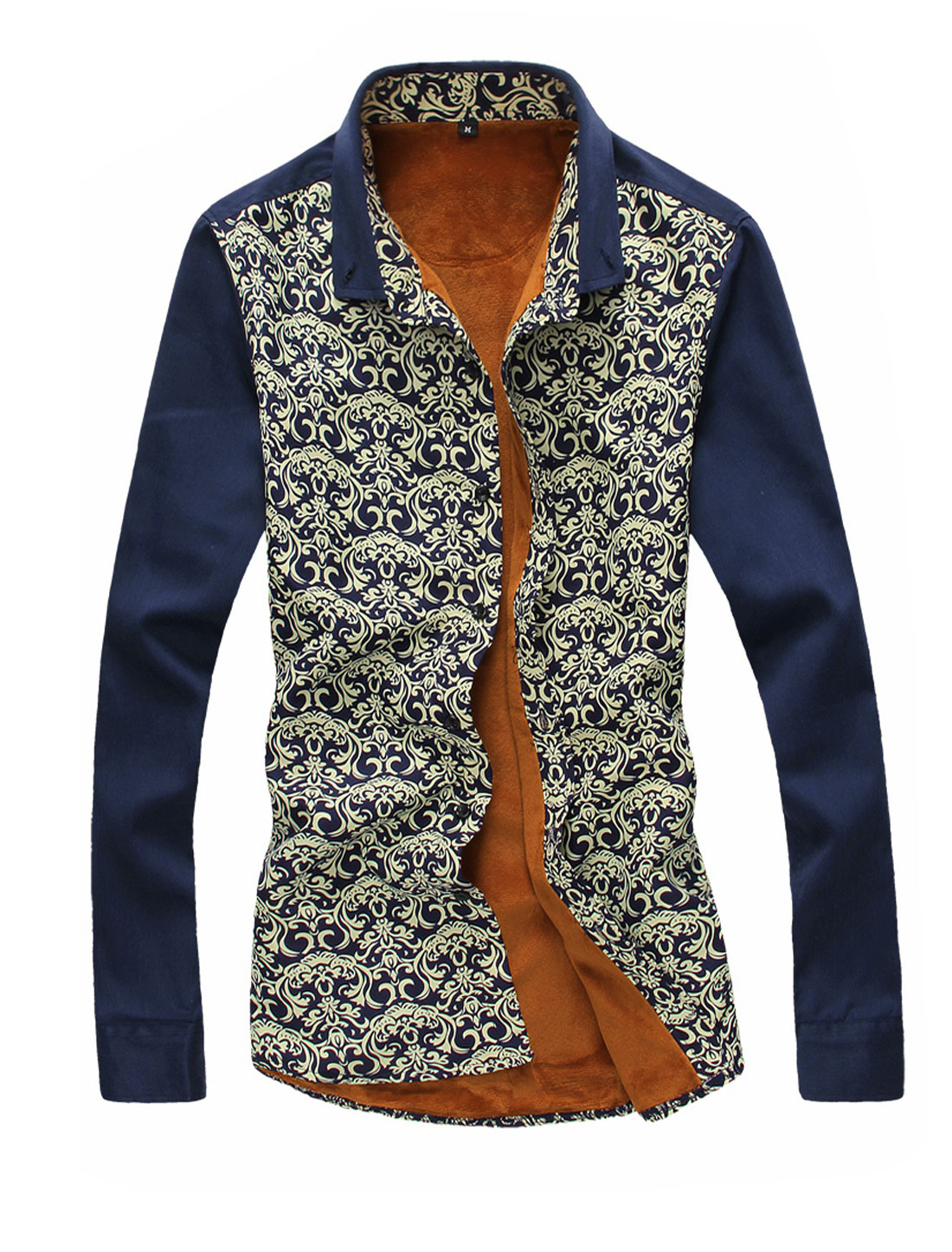 Men Point Collar Soft Lining Novelty Prints Casual Shirt Navy Blue M