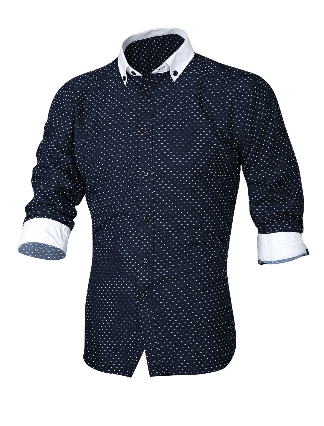 Men Tiny Pattern Button Closure Front Casual Shirt Navy Blue M
