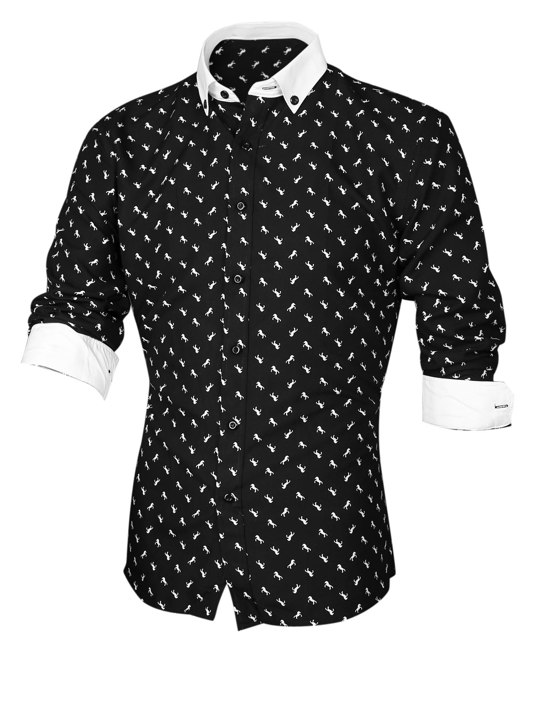 Men Horse Pattern Button Closed Front Casual Shirt Black M