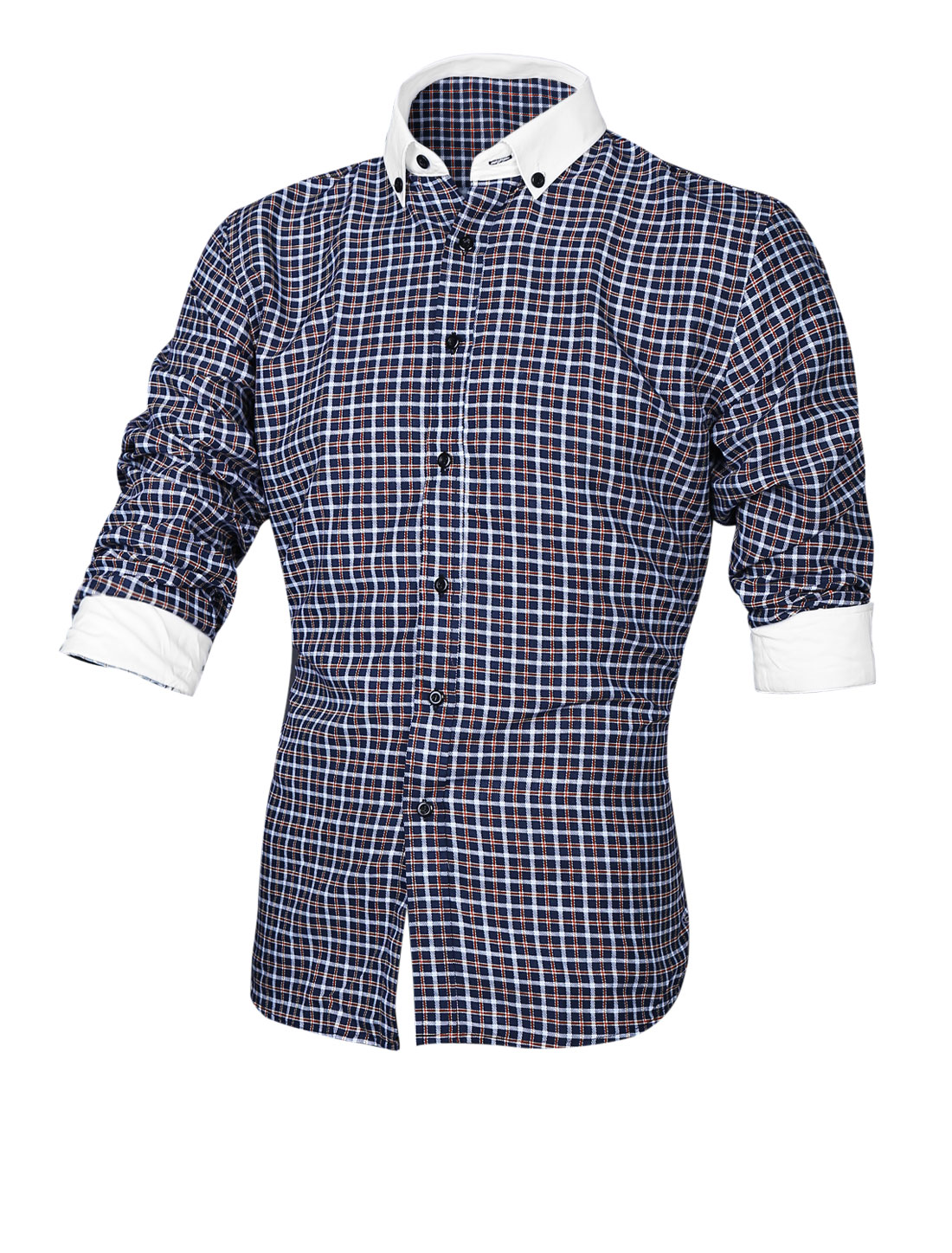 Men Plaids Pattern Button Closed Front Casual Shirt Navy Blue M