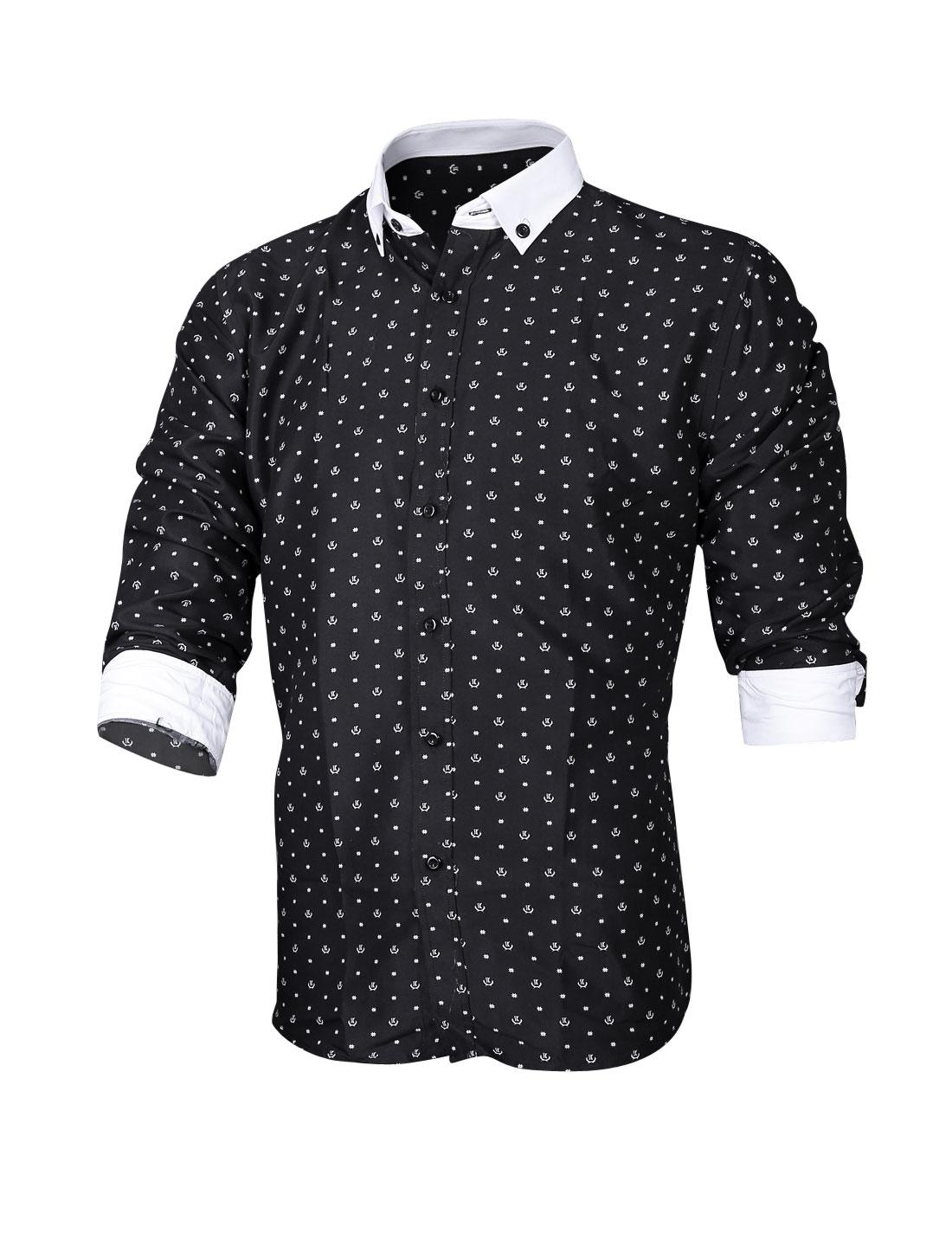 Men Allover Novelty Pattern Button Up Casual Shirt Black M