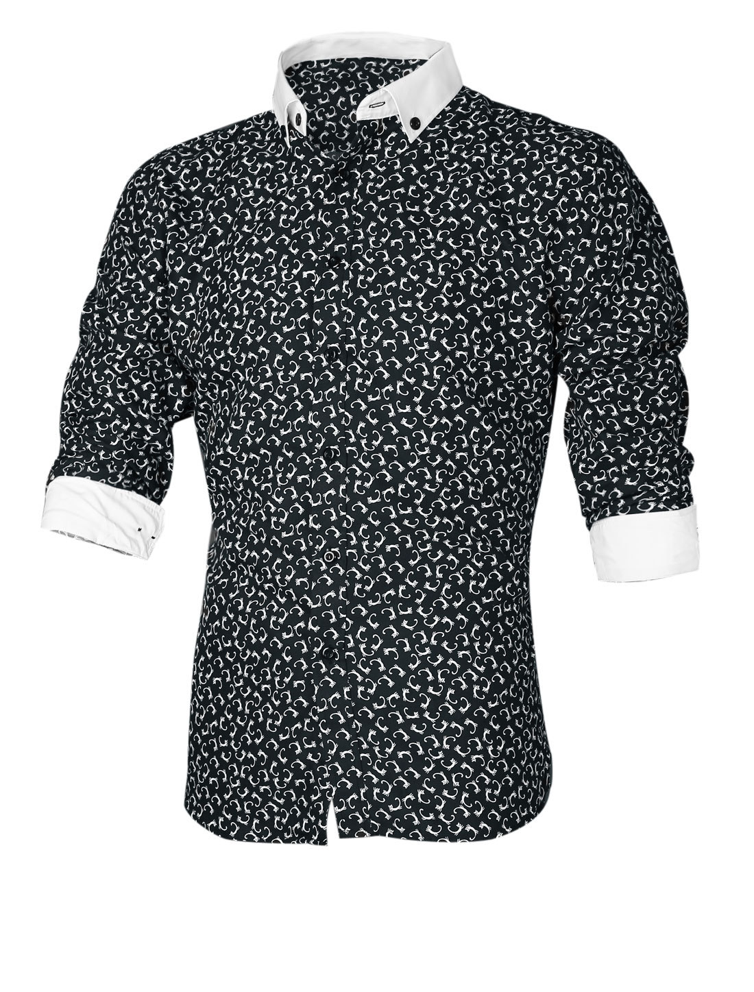 Men Cats Pattern Single Breasted Front Casual Shirt Black M