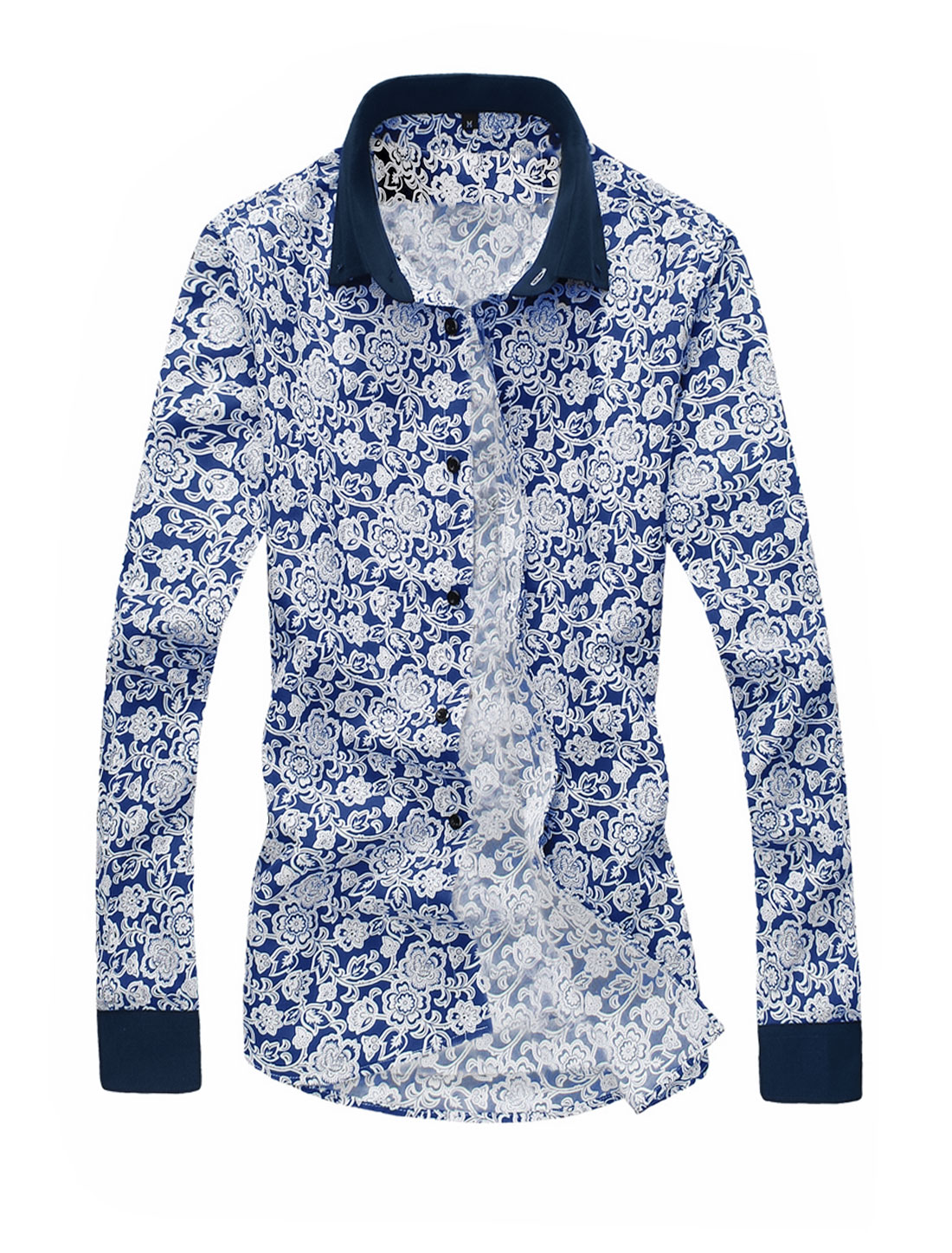 Men Allover Floral Prints Button Closed Casual Shirt Dark Blue White M