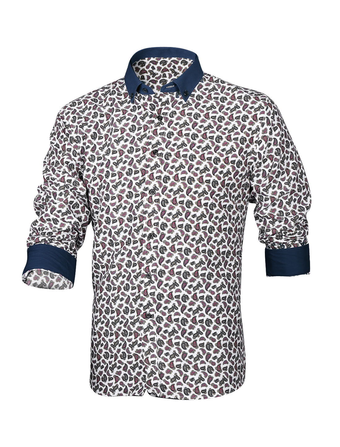 Men Allover Paisleys Prints Button Up Casual Shirt White M