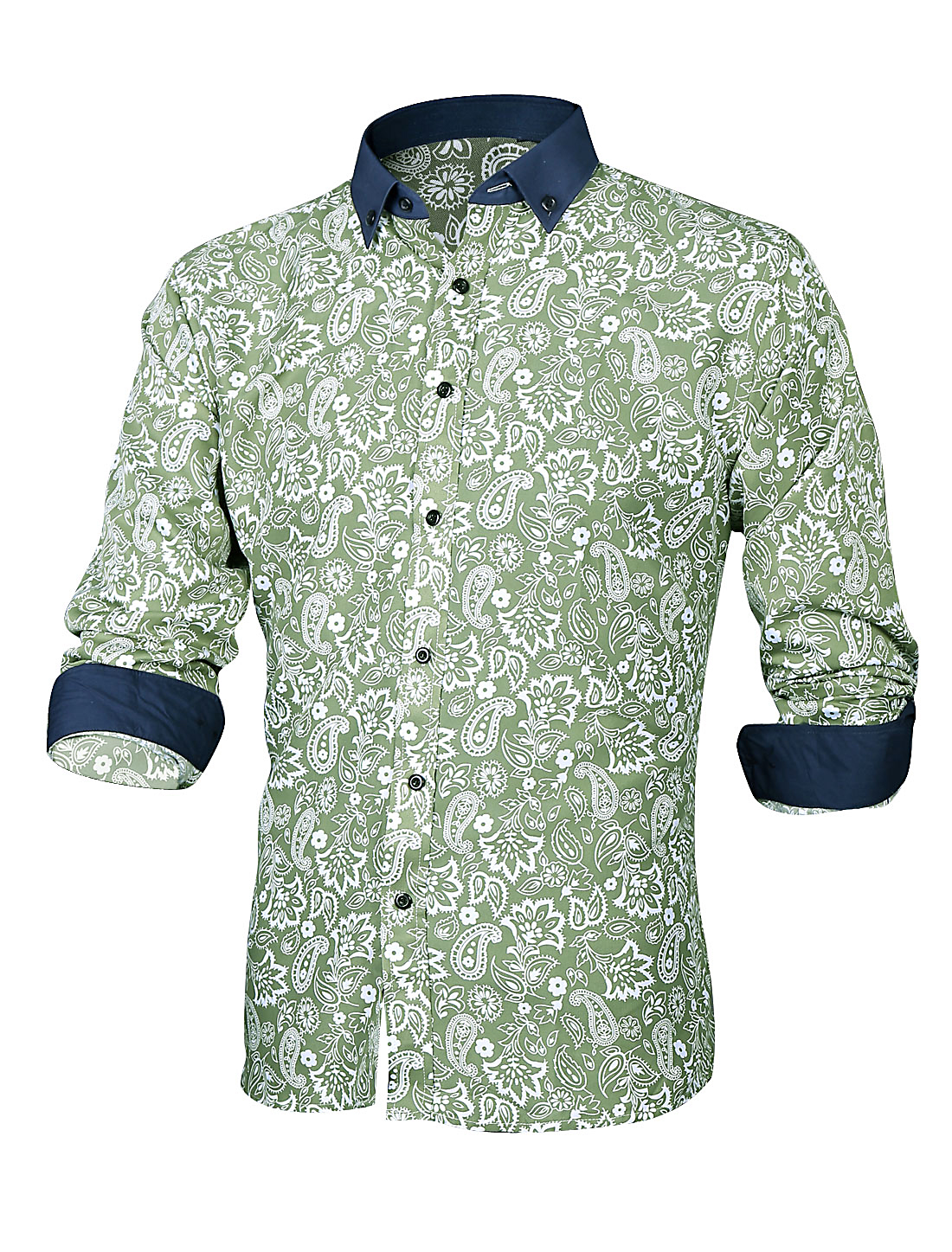 Men Paisleys Floral Prints Button Closed Casual Shirt Emerald M
