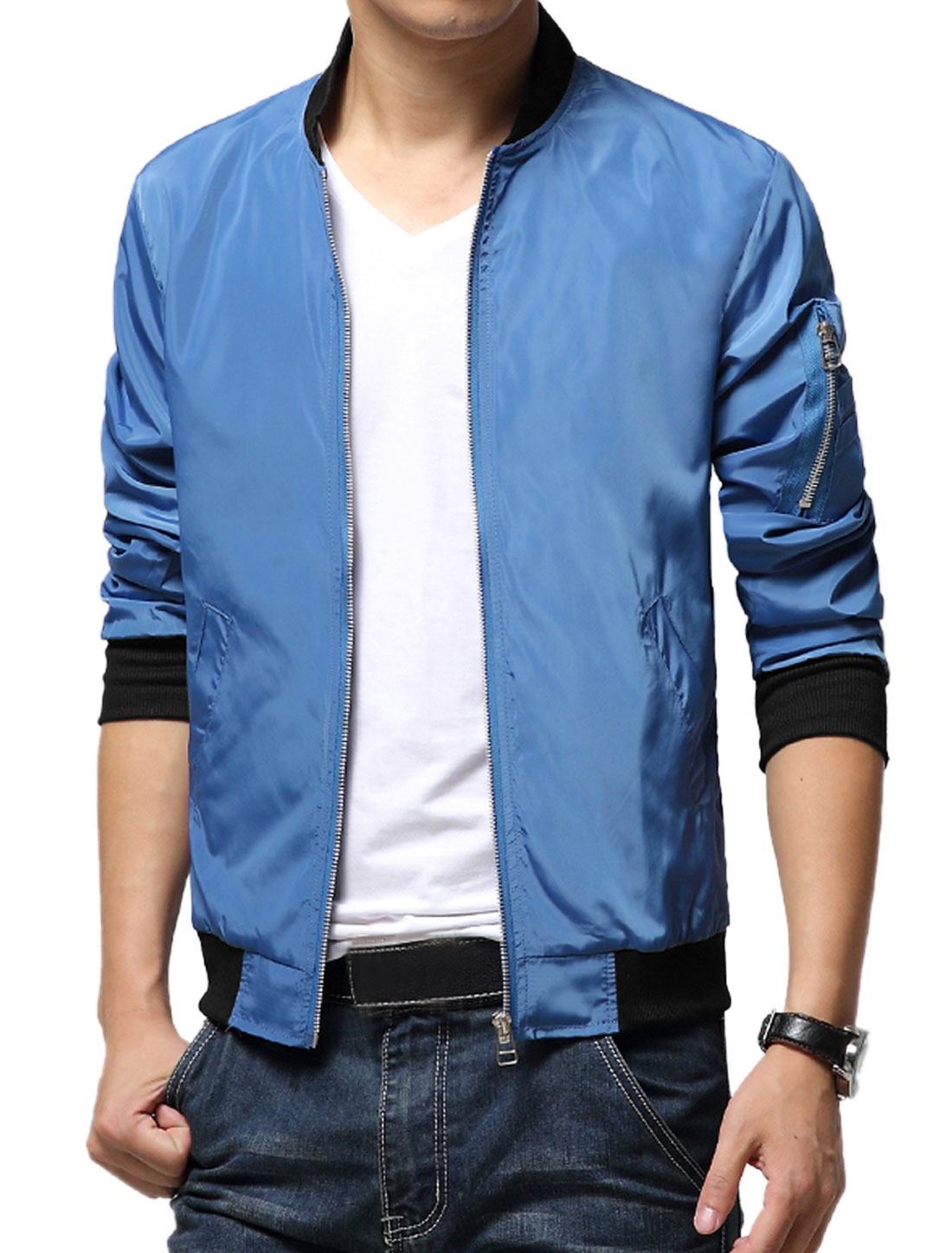Men Blue Zip Closure Front Pockets Ribbed Cuffs Leisure Jacket S
