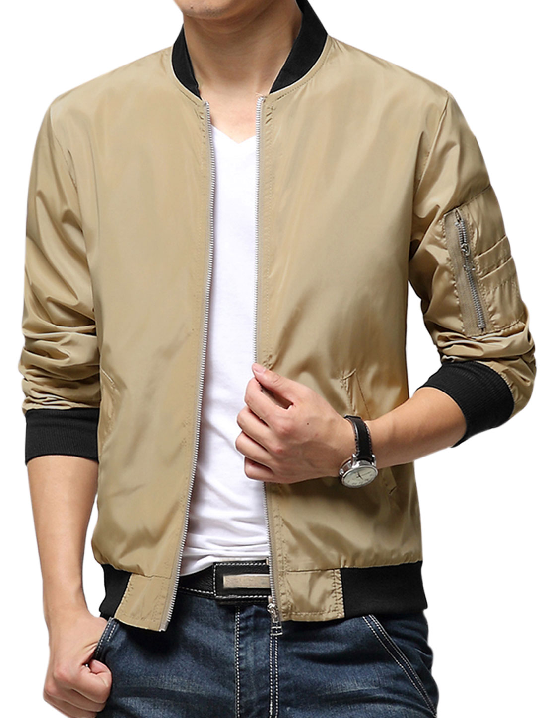 Men Khaki Zip Down Front Pockets Contrast Cuffs Casual Jacket S