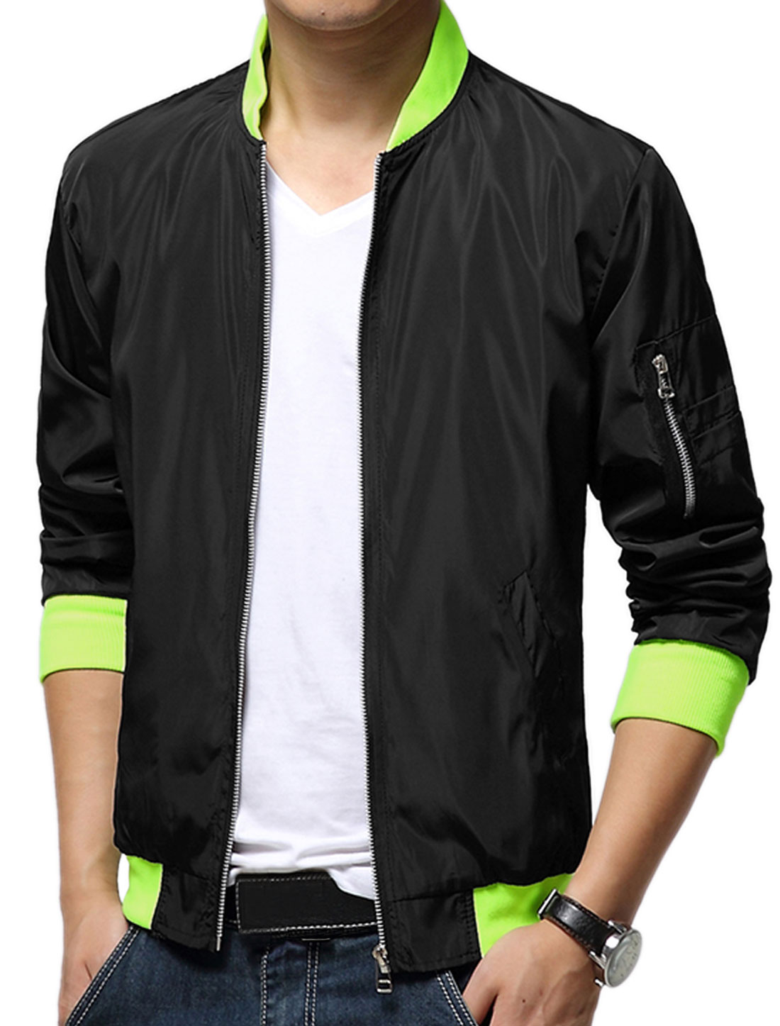 Men Black Zip Closure Front Pockets Long Sleeves Slim Fit Leisure Jacket S