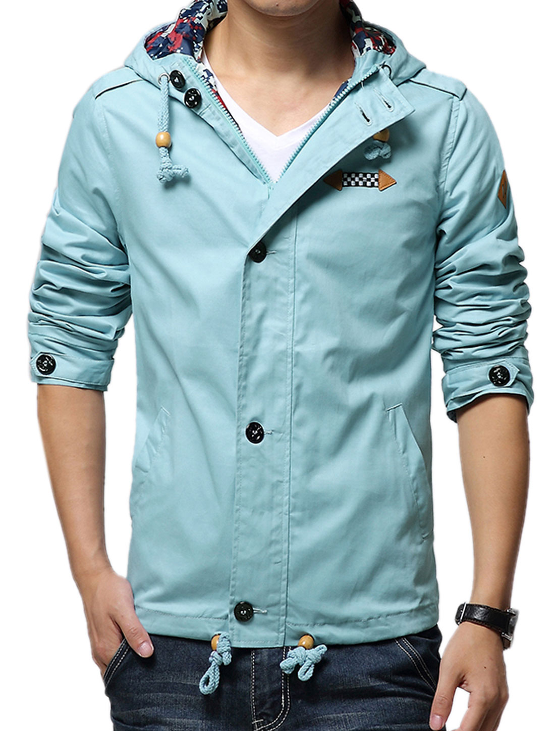 Men Sky Blue Zip Up Button Closure Button-tab Epaulets Drawstring Hooded Jacket S