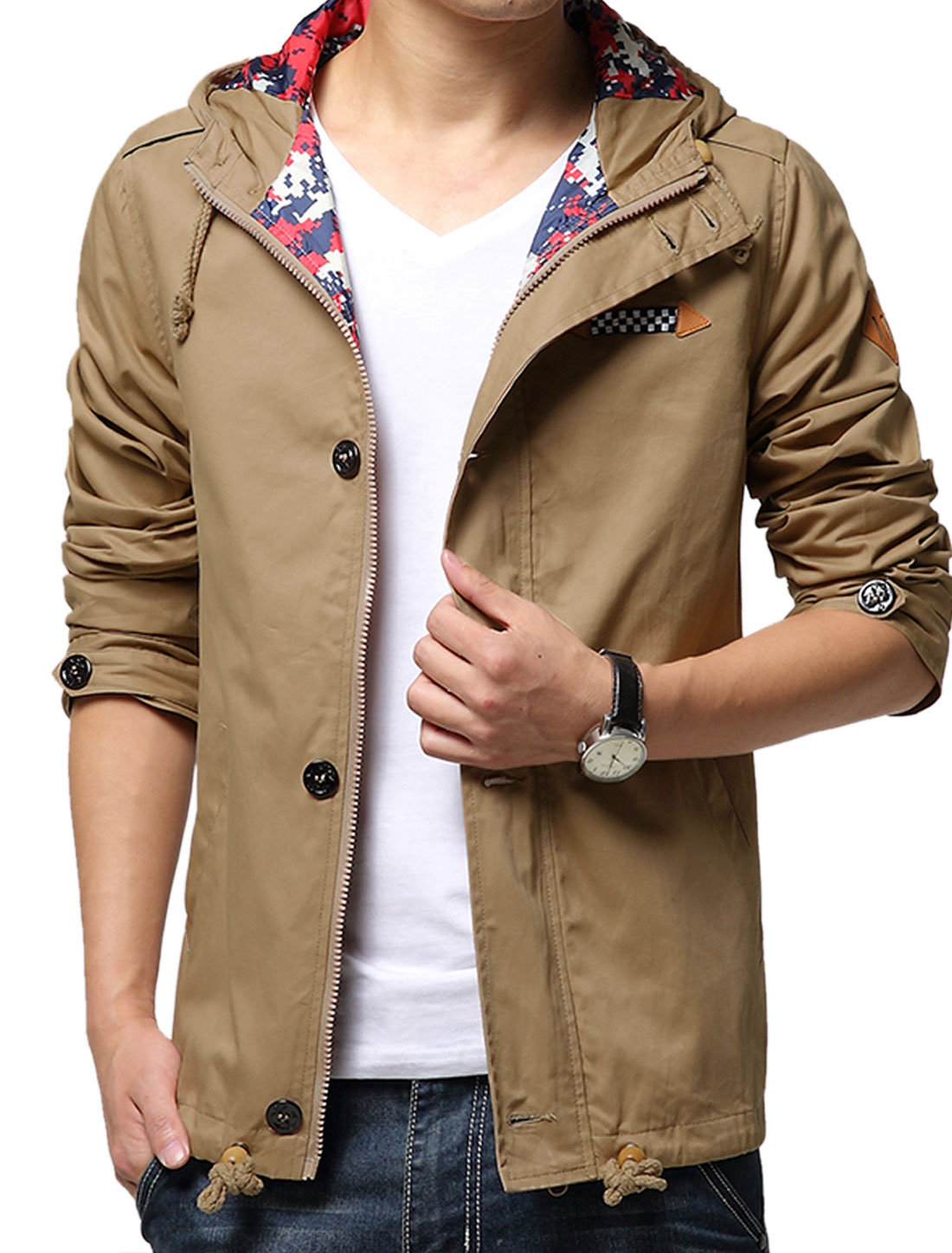 Men Khaki Button Closure Button-tab Epaulets Drawstring Hooded Jacket S