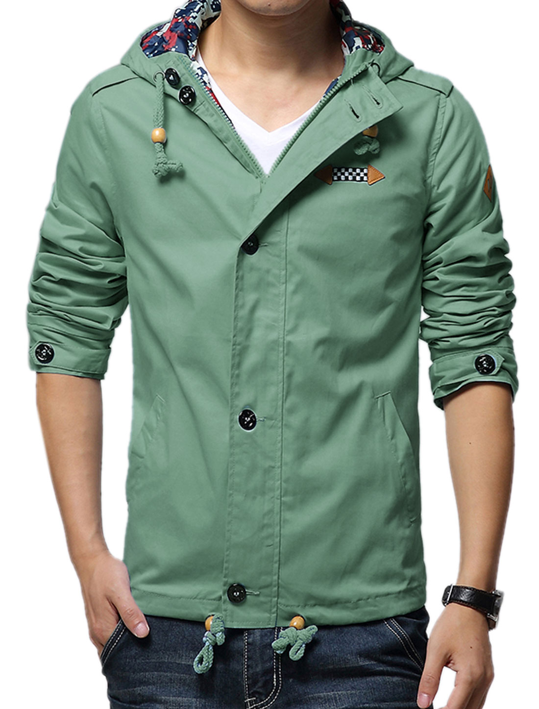 Men Dusty Green Zip Down Button-tab Epaulets Drawstring Leisure Hooded Jacket S