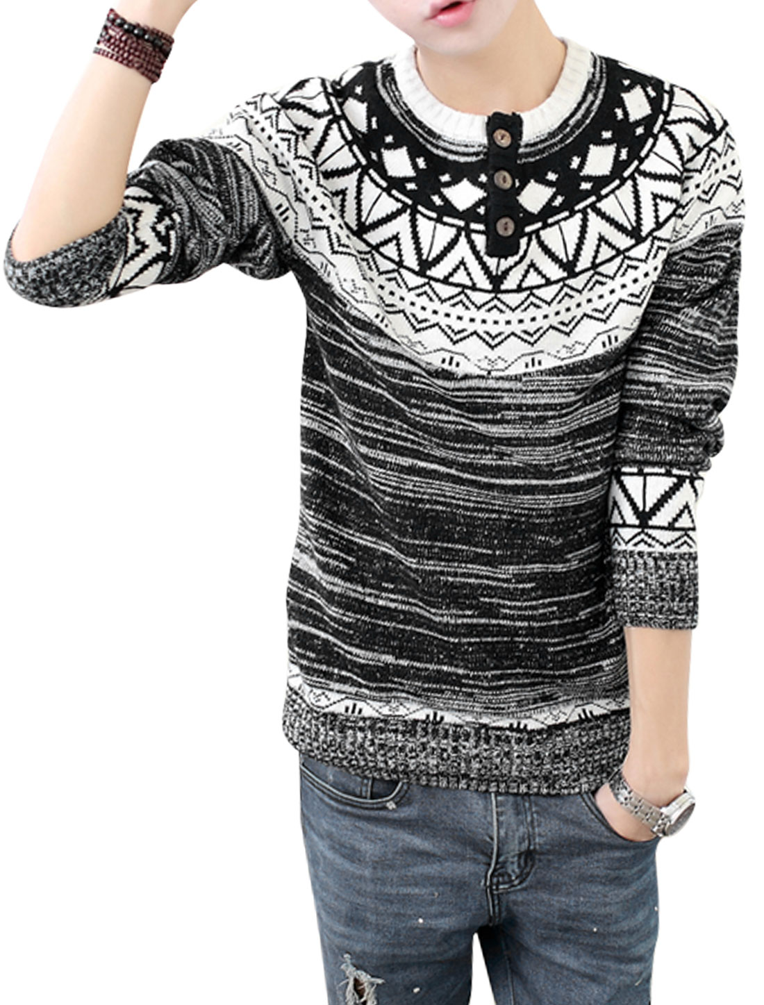 Men Zig-zag Argyle Pattern Round Neck Long Sleeve Sweater Black S