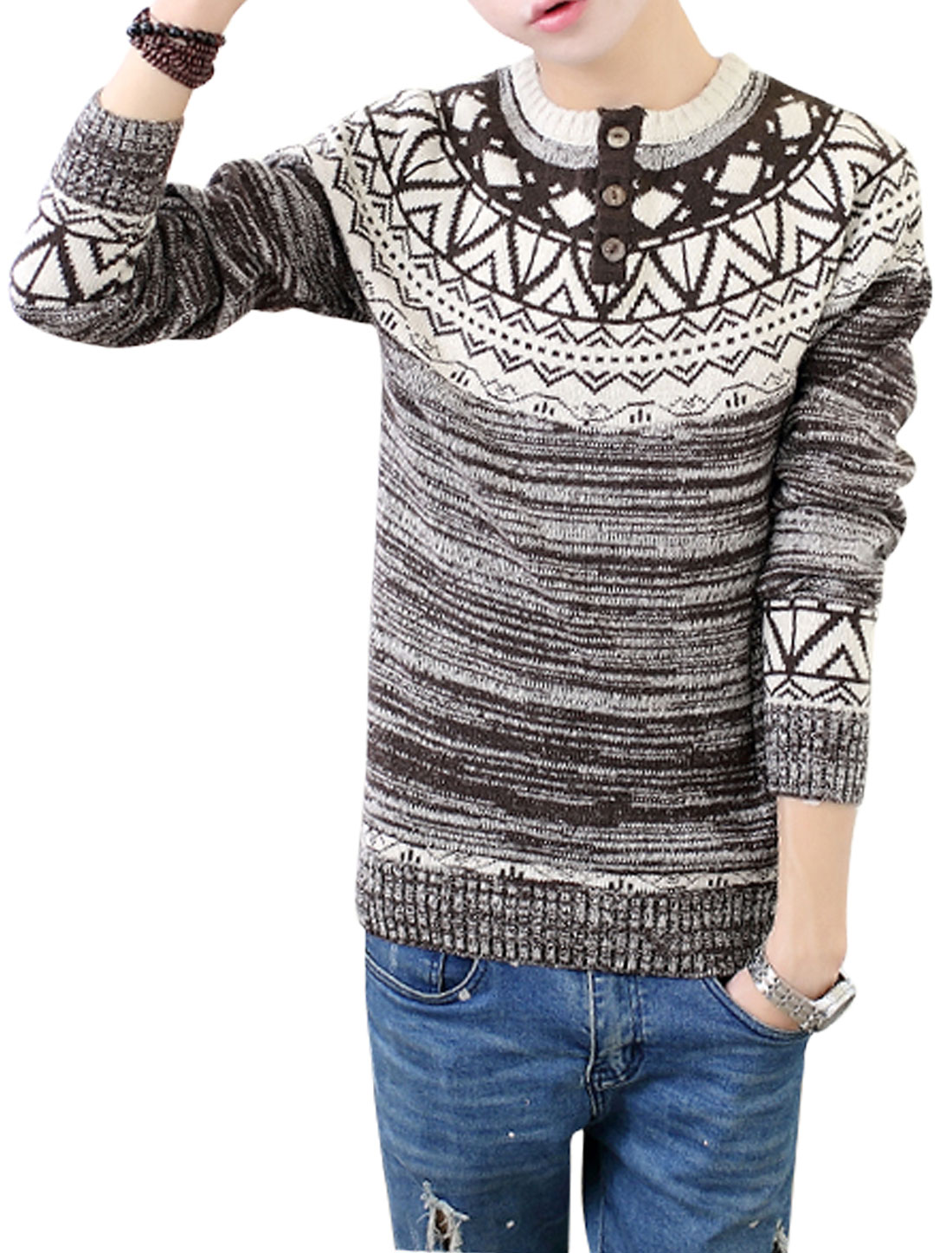 Man Argyle Pattern Button Closed Front Pullover Coffee Sweater S